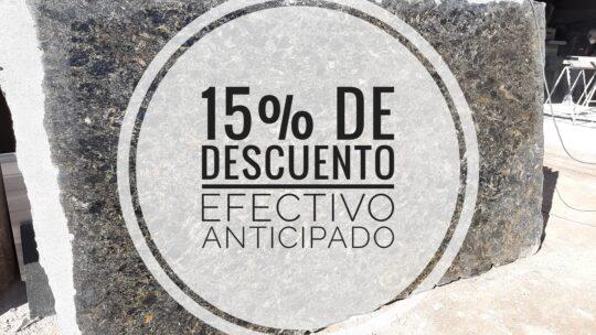 EFECTIVO ANTICIPADO 15% DE DESCUENTO EN TODOS LOS MATERIALES